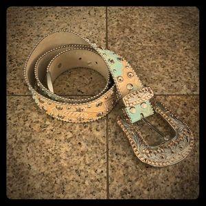 BB Simon Western Studded Leather Belt